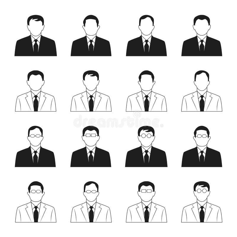Grupo do vetor dos ícones do homem de negócio ilustração stock