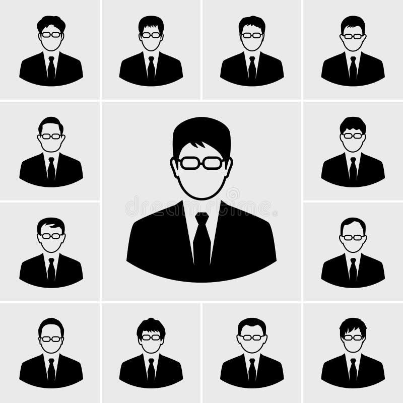 Grupo do vetor dos ícones do homem de negócio ilustração royalty free