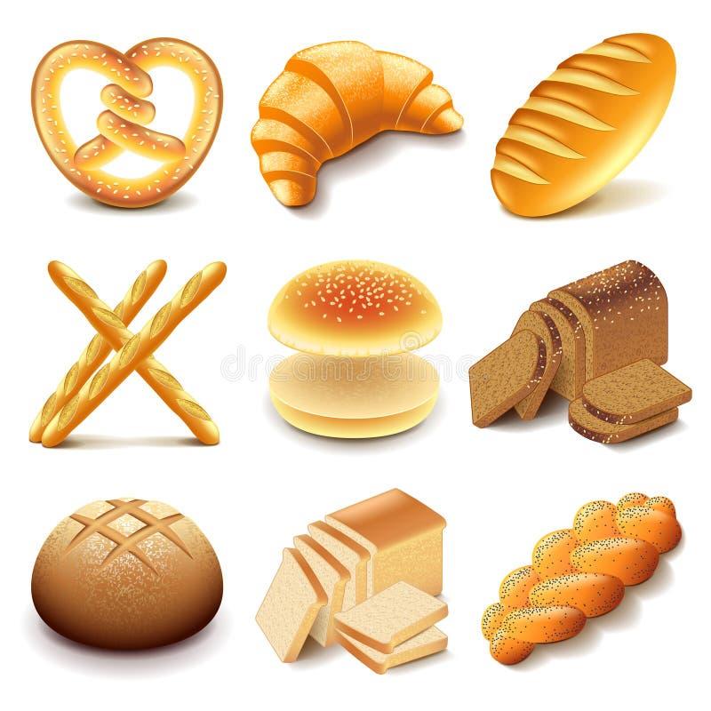 Grupo do vetor dos ícones do pão e da padaria ilustração do vetor
