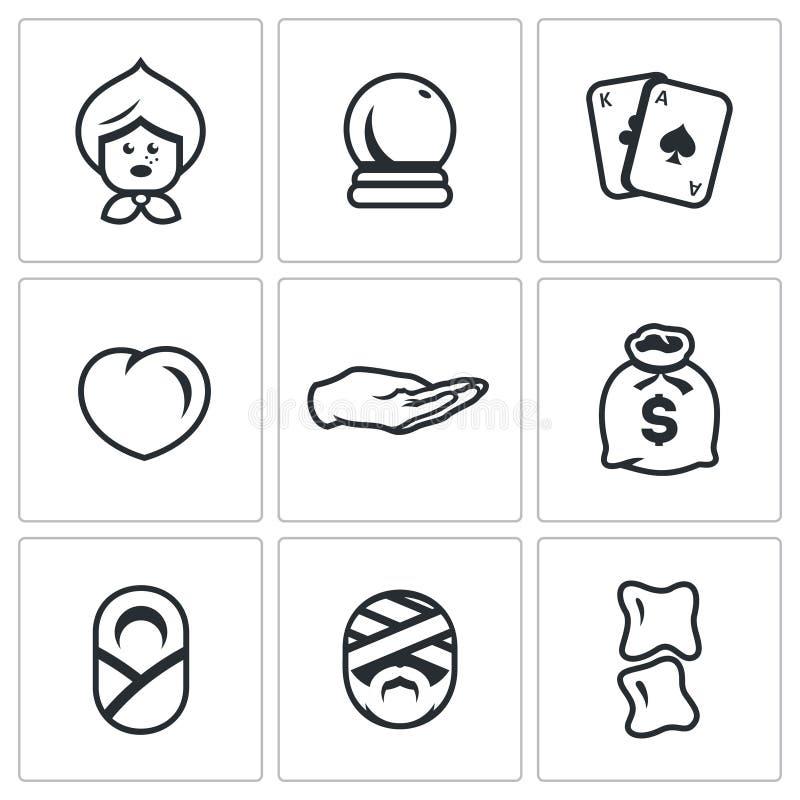 Grupo do vetor dos ícones do profeta e do curandeiro Avó, bola mágica, tarô, amor, palma da adivinhação, riqueza, parteira, curan ilustração stock