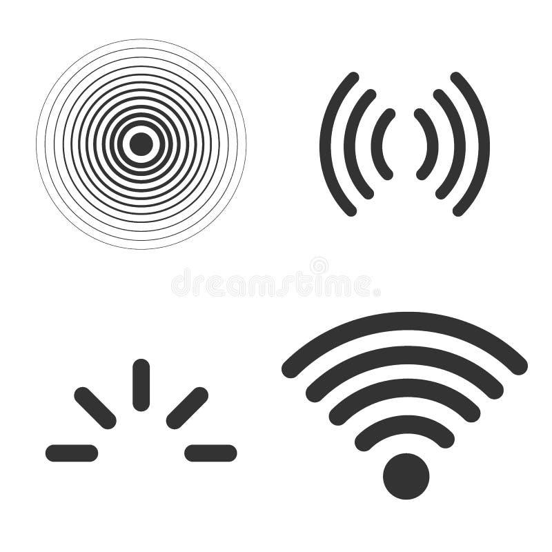 Grupo do vetor dos ícones do sinal isolado no fundo branco, na linha ondas dos sinais de rádio do estilo do esboço e em raios cla ilustração do vetor