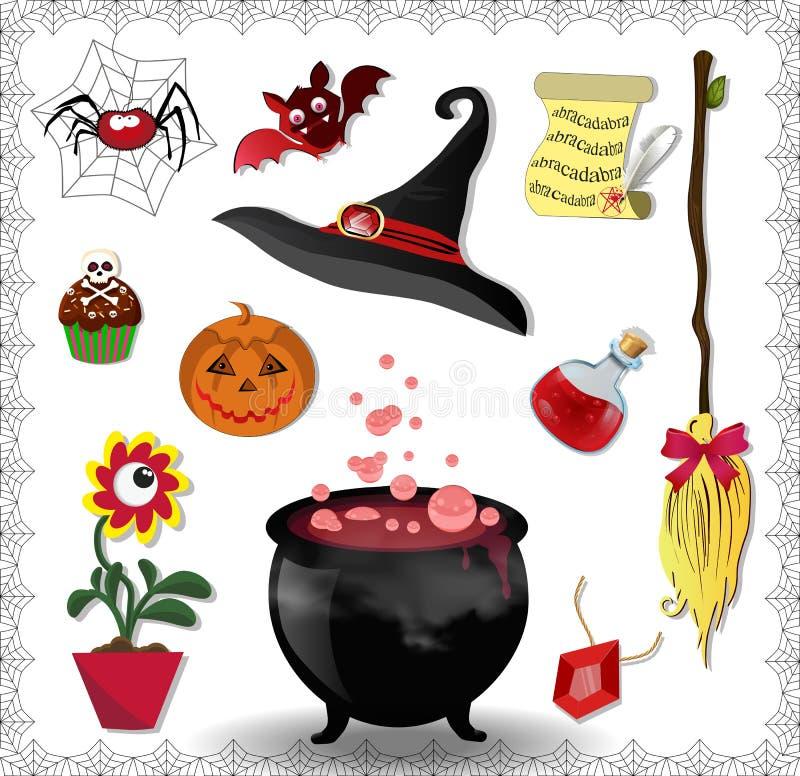 Grupo do vetor dos acessórios da bruxa na cor vermelha isolado no branco ilustração stock