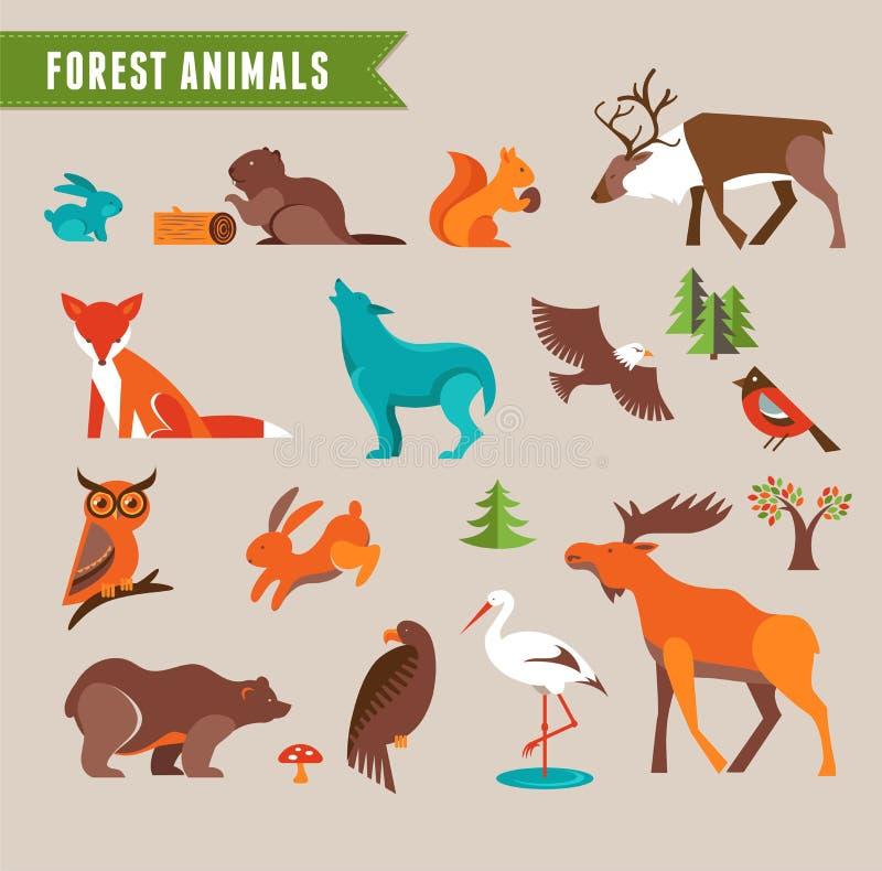 Grupo do vetor dos animais da floresta ilustração royalty free