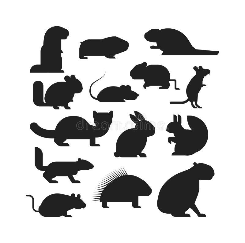 Grupo do vetor dos animais dos roedores dos desenhos animados ilustração do vetor