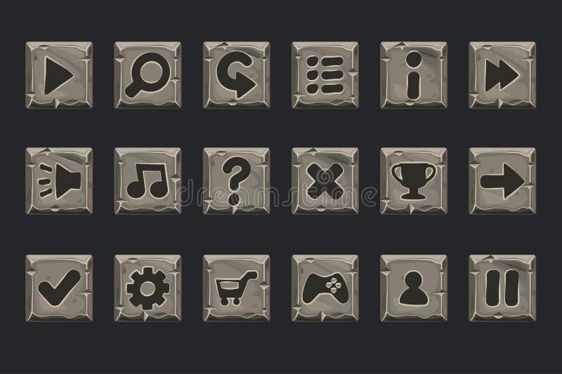 Grupo do vetor dos botões de pedra para o projeto da Web ou de jogo ilustração do vetor