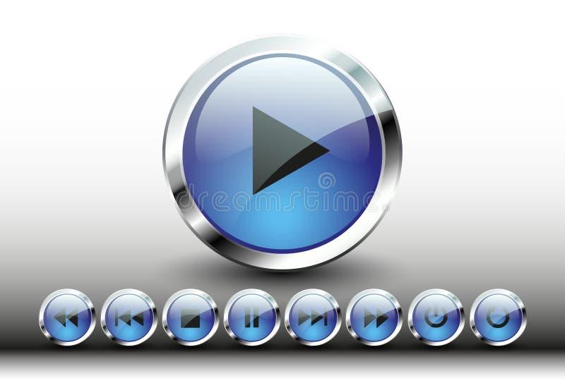 Grupo do vetor dos botões do metal do começo do jogador ilustração royalty free