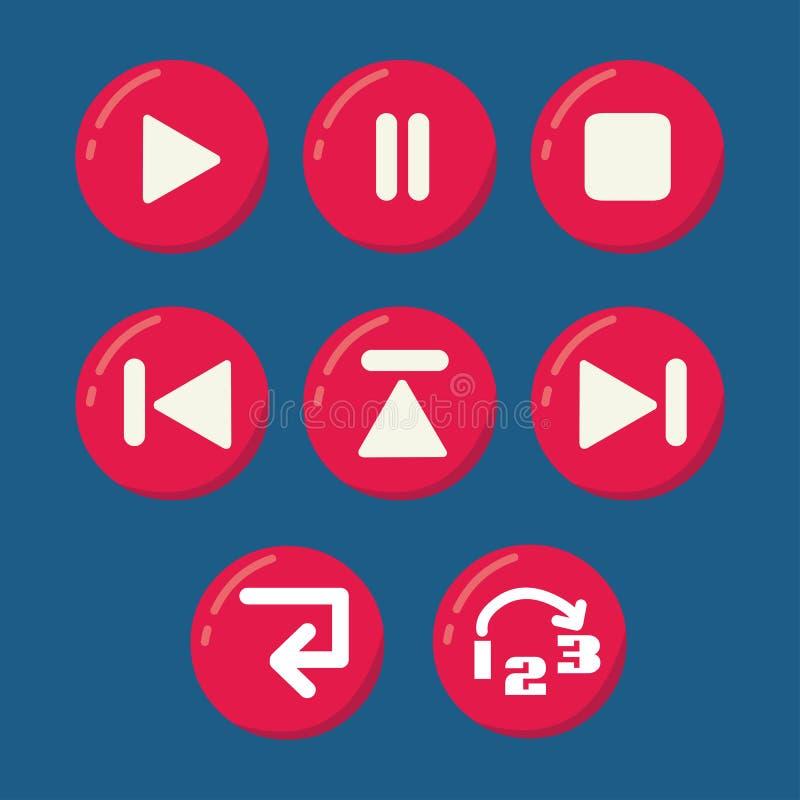 Grupo do vetor dos botões do reprodutor multimedia ilustração royalty free