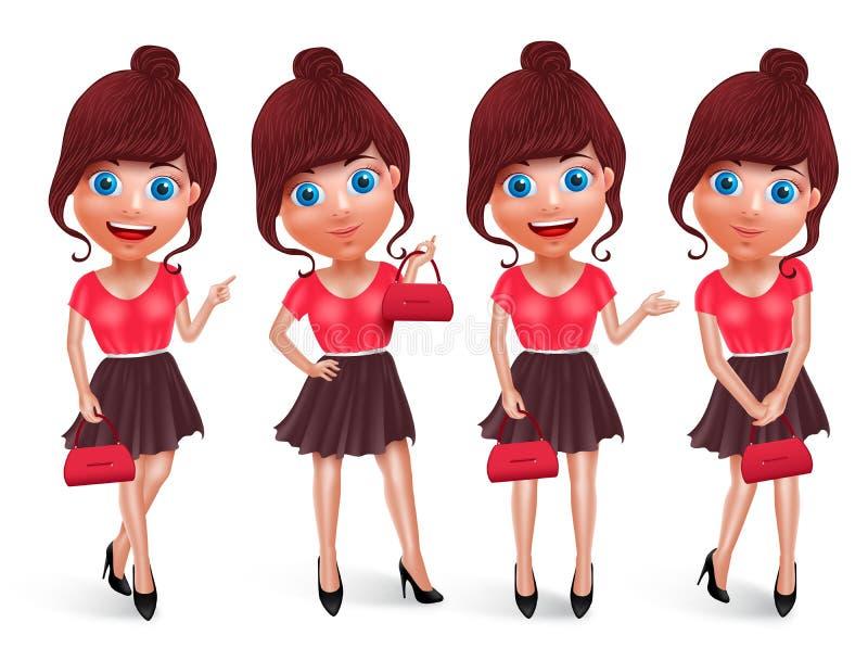 Grupo do vetor dos caráteres da forma da menina Saco de compra fêmea da terra arrendada do modelo ilustração royalty free