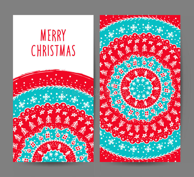Grupo do vetor dos cartões do Natal e do ano novo ilustração do vetor