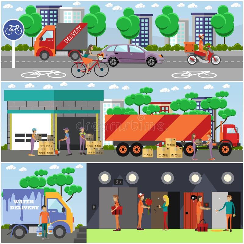 Grupo do vetor dos cartazes da entrega do alimento, bandeiras no estilo liso ilustração do vetor