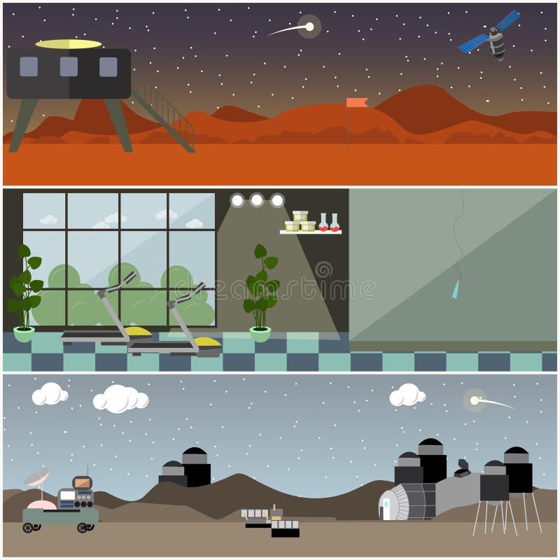 Grupo do vetor dos cartazes interiores do espaço, bandeiras no estilo liso ilustração stock