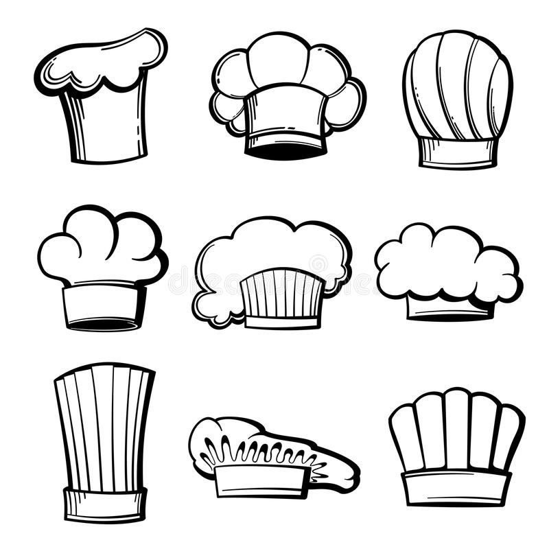 Grupo do vetor dos chapéus e dos toques do cozinheiro chefe do esboço ilustração royalty free