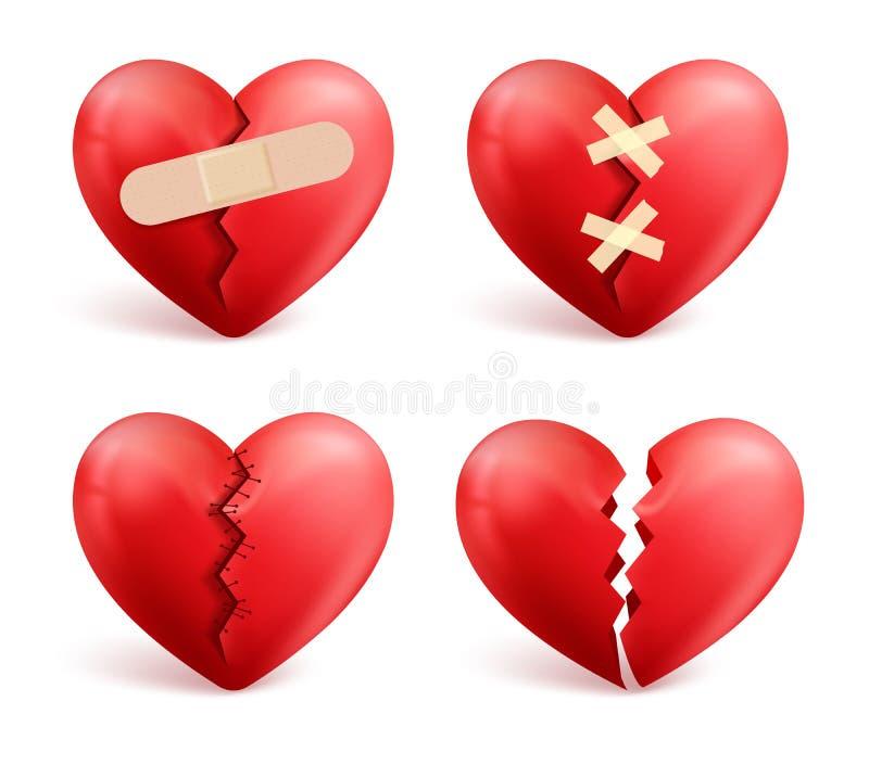 Grupo do vetor dos corações quebrados dos ícones 3d e de símbolos realísticos ilustração do vetor