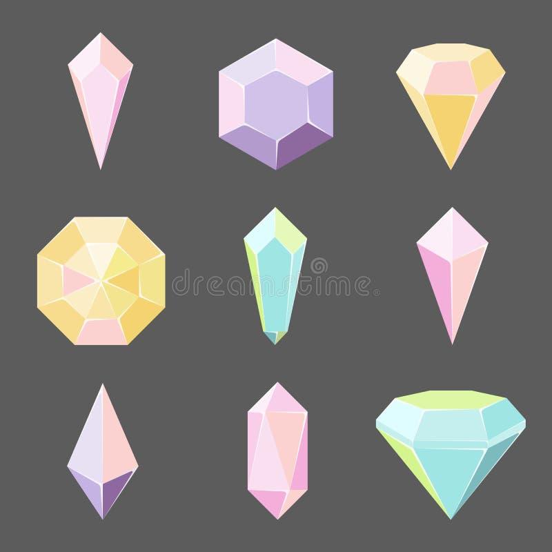 Grupo do vetor dos cristais e das pedras preciosas de vidro ilustração royalty free
