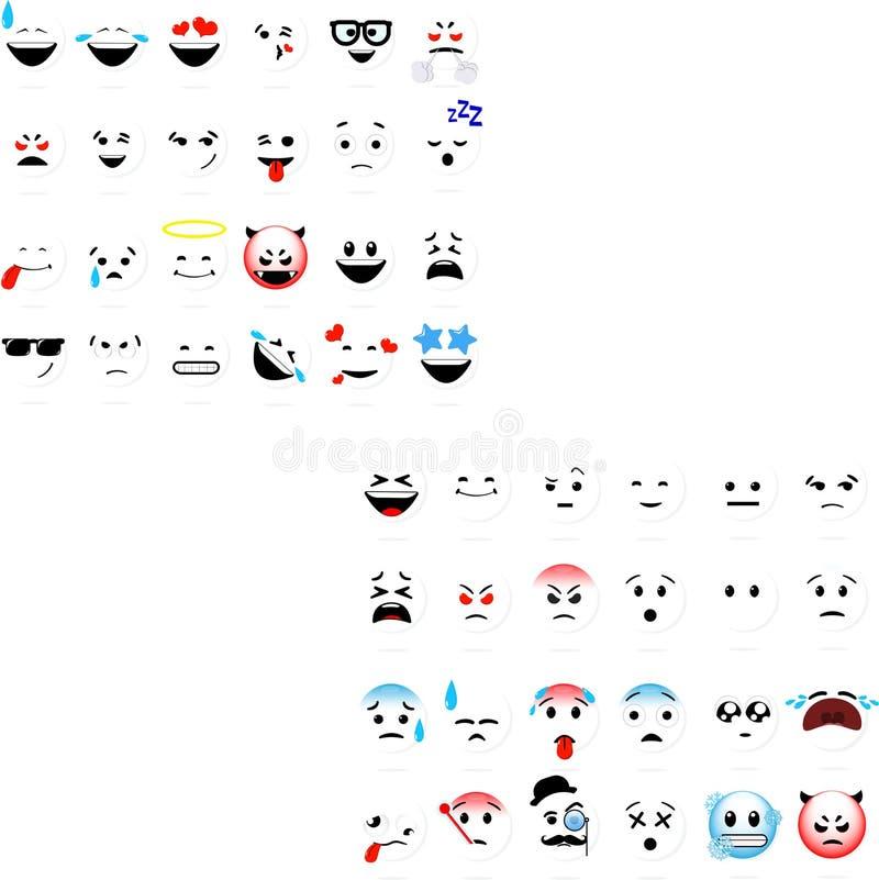 Grupo do vetor dos emoticons dos smiley ilustração stock