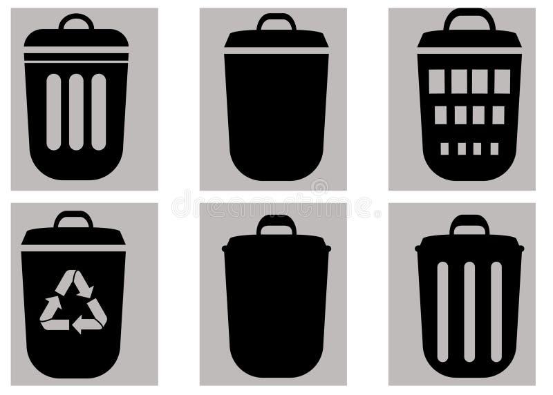 Grupo do vetor dos escaninhos de lixo Isolado no fundo cinzento ilustração do vetor