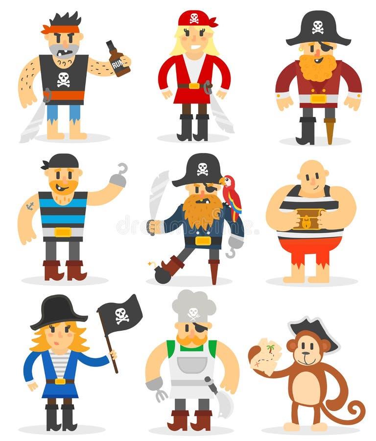 Grupo do vetor dos piratas dos desenhos animados ilustração royalty free