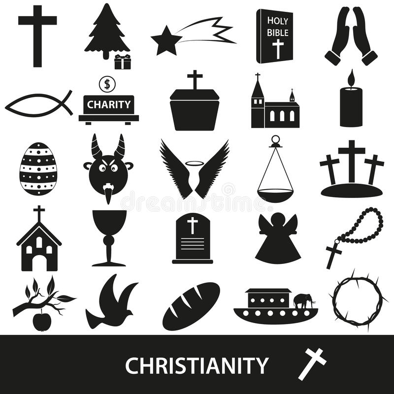 Grupo do vetor dos símbolos da religião da cristandade de ícones ilustração do vetor