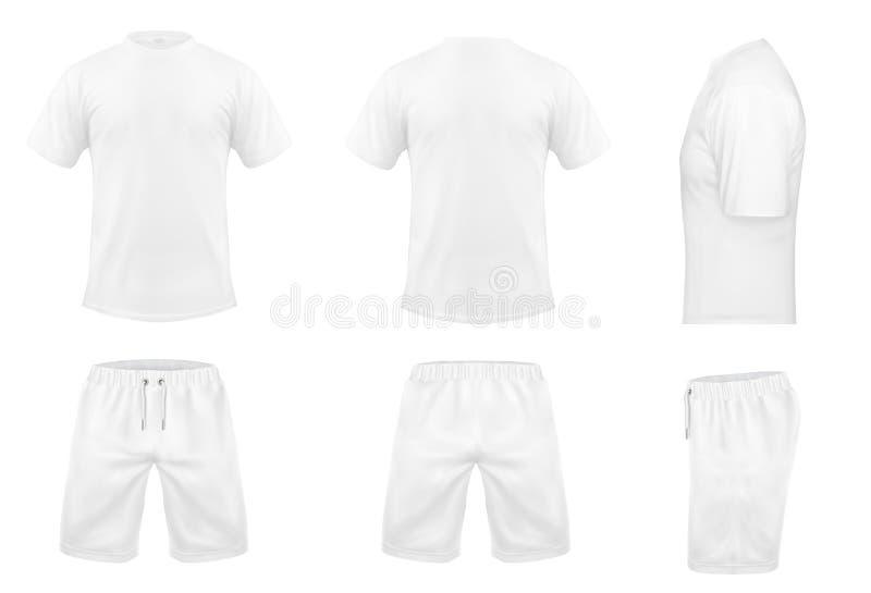 Grupo do vetor dos t-shirt e do short brancos do esporte ilustração royalty free