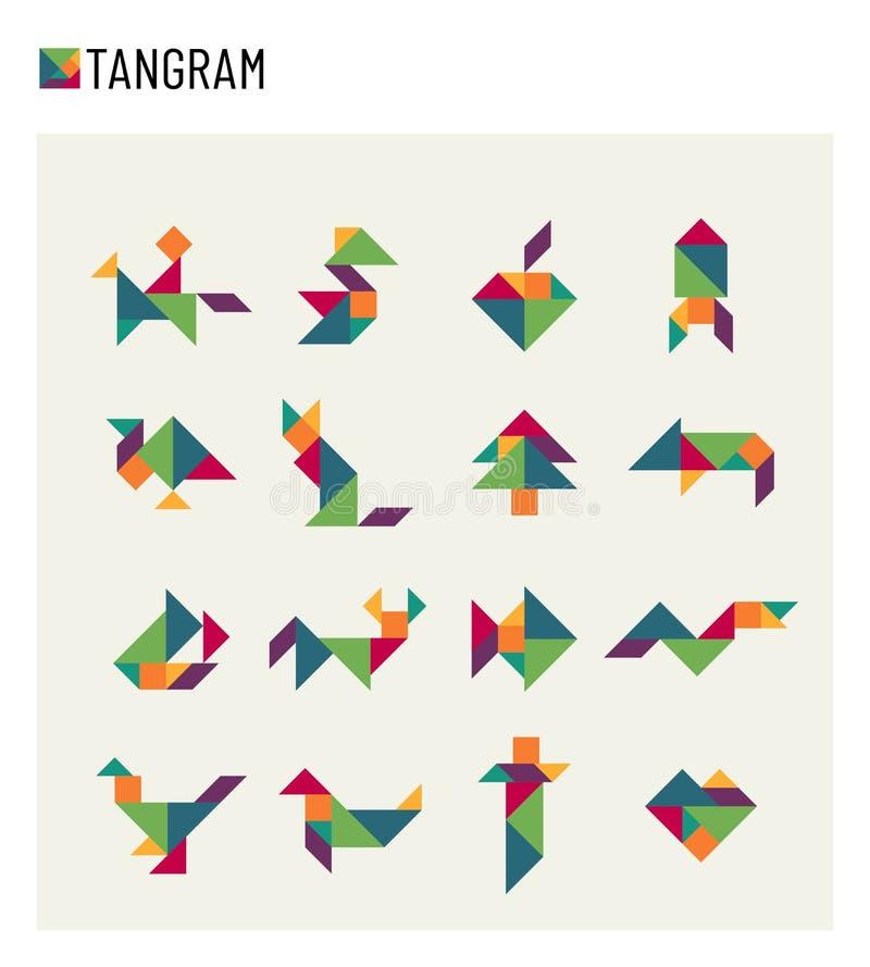 Grupo do vetor do enigma da transformação do corte do jogo do cérebro das crianças do Tangram ilustração do vetor