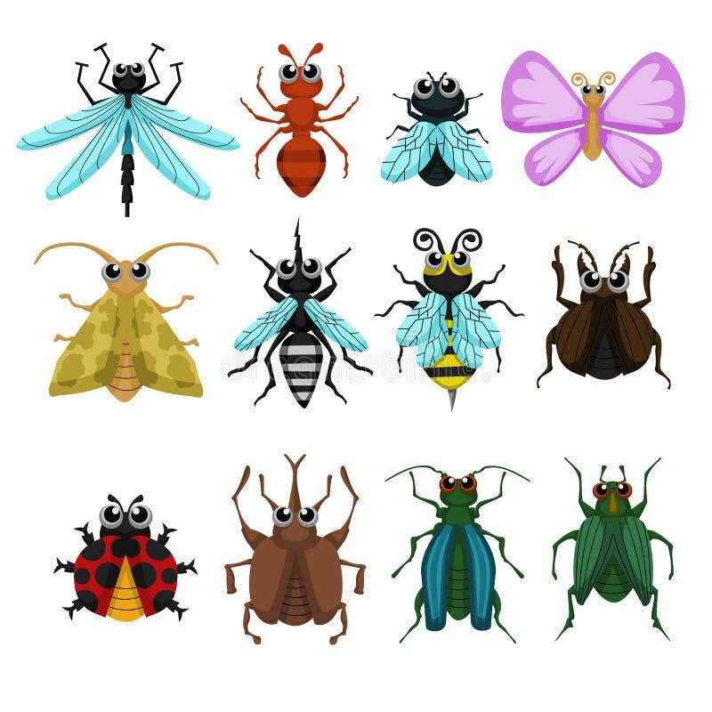 Grupo do vetor do erro do inseto dos desenhos animados ilustração do vetor