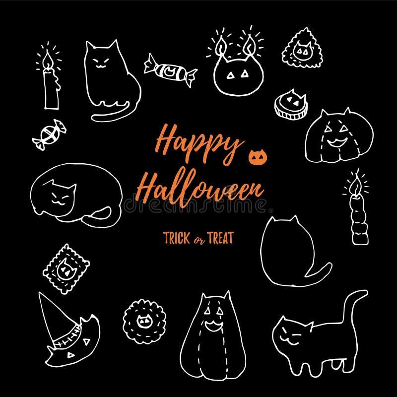 Grupo do vetor do gato de Dia das Bruxas Giz branco tirado mão em garatujas pretas da placa isolado no preto Gatos gordos, abóbor ilustração do vetor