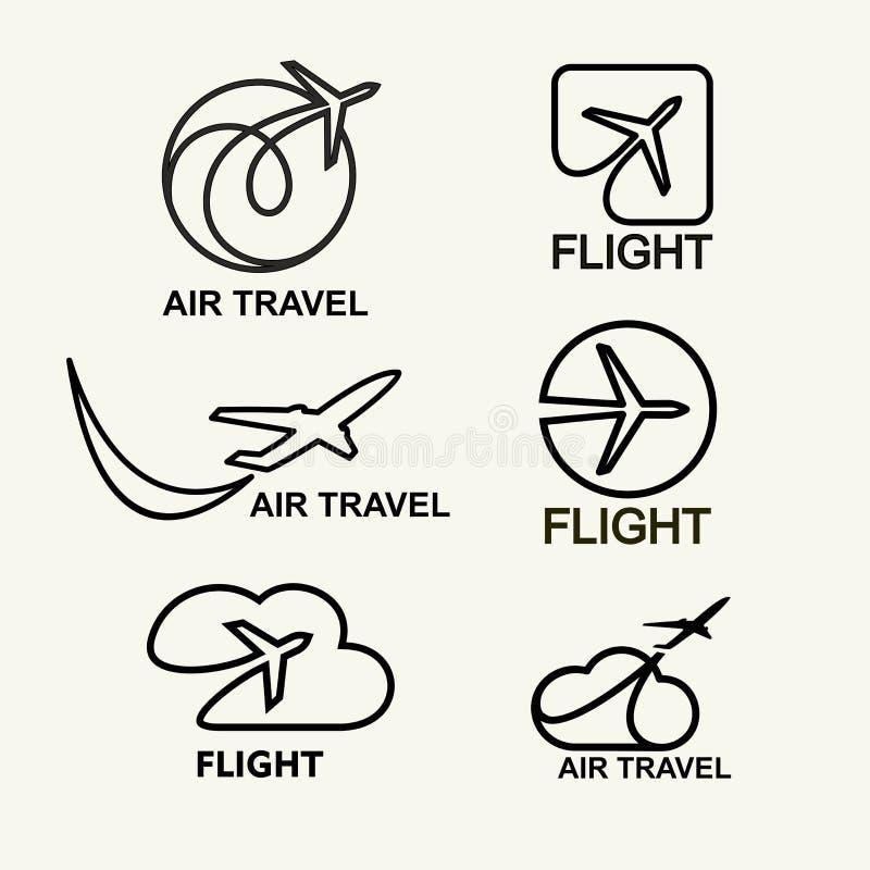 Grupo do vetor Logs da aviação, emblemas molde, viagem aérea Linha arte ilustração royalty free