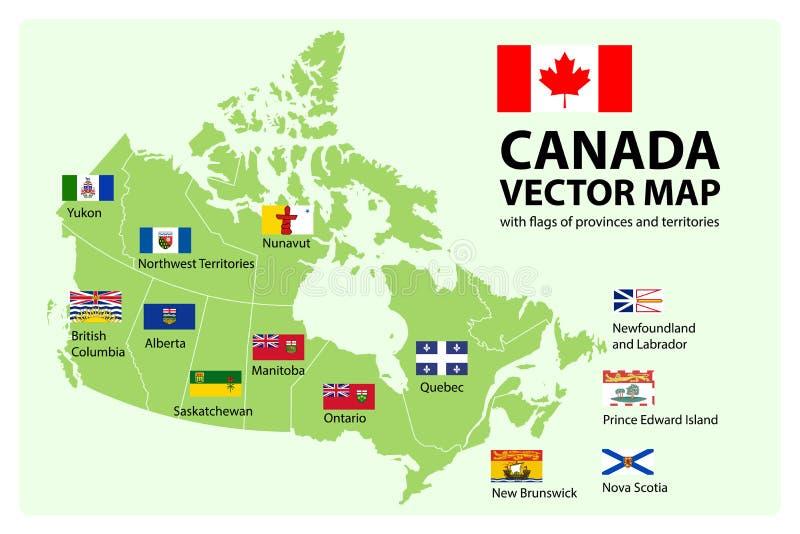 Grupo do vetor Mapa de Canadá com províncias e bandeiras dos territórios ilustração royalty free
