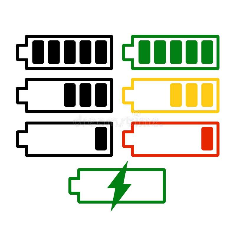 Grupo do vetor do nível da carga da bateria isolado no fundo Símbolos do ícone da bateria completos e baixos O grau de bateria ilustração stock