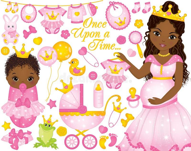Grupo do vetor para o chuveiro do bebê com a mulher grávida e o bebê afro-americanos vestidos como princesas ilustração royalty free