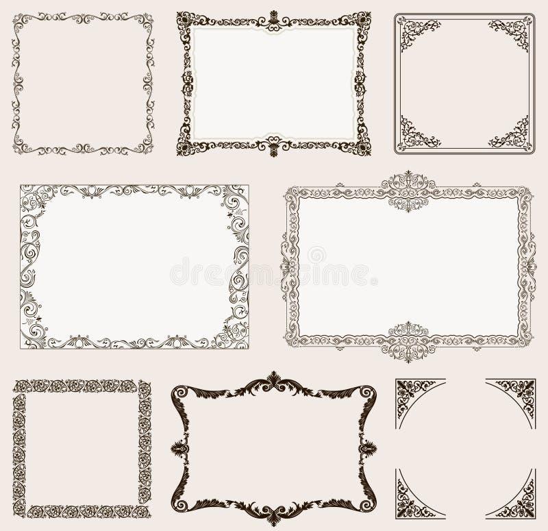 Grupo do vetor Quadros ornamentado e elementos do rolo do vintage ilustração royalty free
