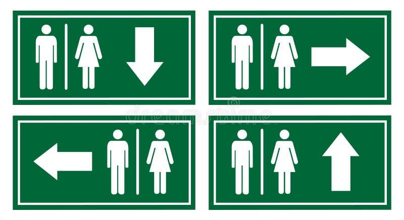 Grupo do vetor do signage do toalete ilustração do vetor