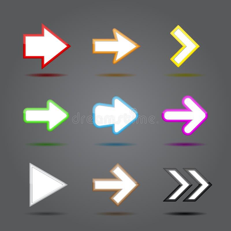 Grupo do vidro dos ícones do App. Sinal lustroso da Web da seta. ilustração do vetor