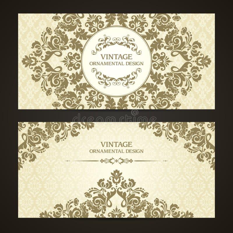 Grupo do vintage de beiras decorativas do molde e de fundo modelado Projeto elegante do convite do casamento do laço, cartão, ban ilustração royalty free