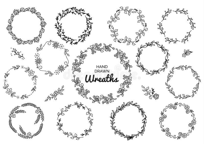 Grupo do vintage de grinaldas rústicas tiradas mão Gráfico de vetor floral na placa branca Elementos do projeto da natureza ilustração stock