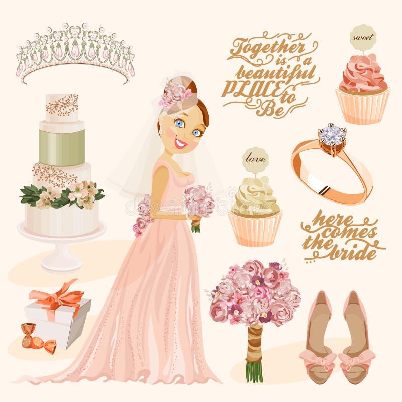 Grupo do vintage do vetor de elementos decorativos do casamento no estilo do vintage ilustração do vetor