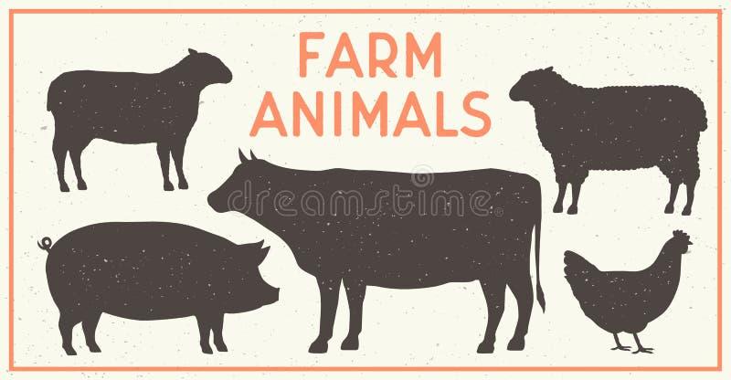 Grupo do vintage dos animais de exploração agrícola Silhuetas da vaca, porco, carneiro, cordeiro, galinha Ícones dos animais de e ilustração royalty free