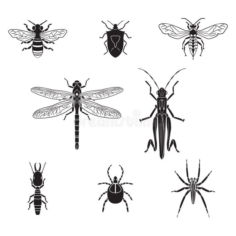 Grupo do volume 3 dos insetos do vetor ilustração do vetor