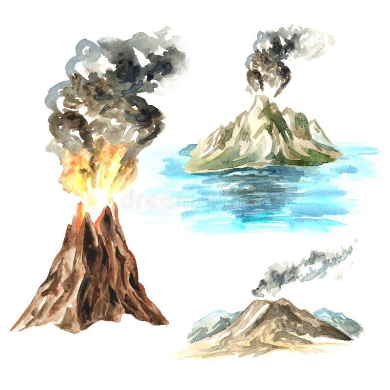 Grupo do vulcão Ilustra??o tirada m?o da aquarela, isolada no fundo branco ilustração do vetor