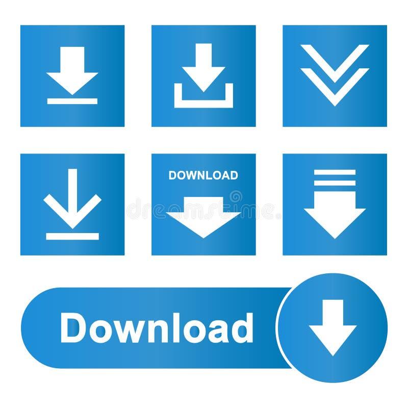 Grupo do Web site dos botões dos ícones da transferência ilustração stock