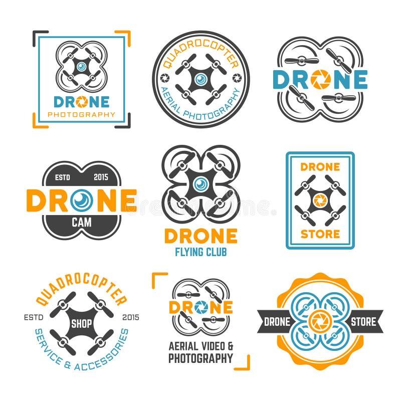 Grupo do zangão ou do quadrocopter de emblemas coloridos ilustração do vetor