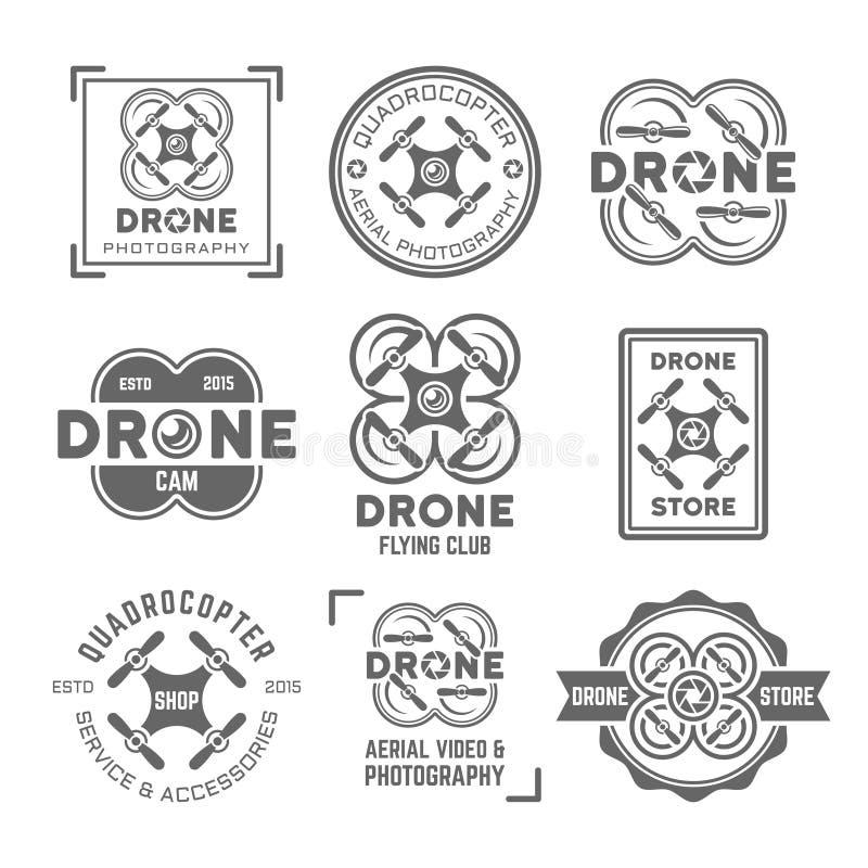 Grupo do zangão ou do quadrocopter de etiquetas do preto do vetor ilustração royalty free