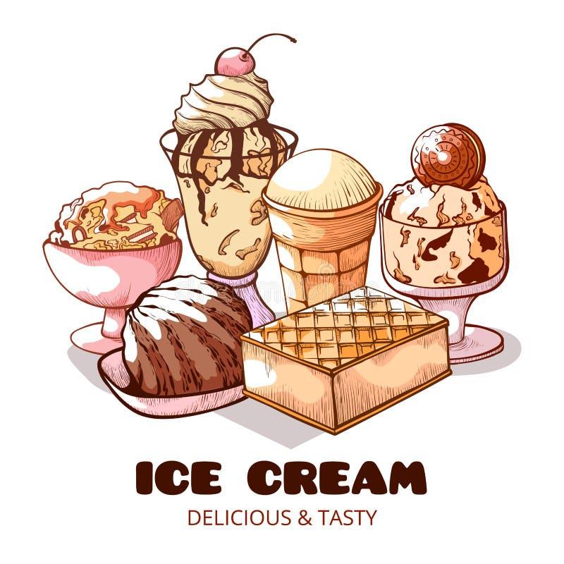 Grupo doce do cartaz do gelado, o delicioso e o saboroso ilustração do vetor
