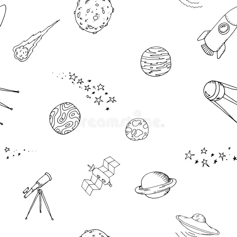 Grupo dooble sem emenda do teste padrão do espaço ilustração royalty free