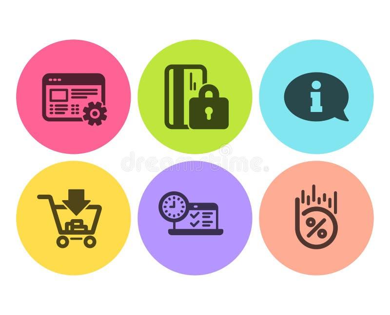Grupo dos ícones dos ajustes da informação, da compra e da Web Teste em linha, cartão obstruído e de por cento do empréstimo sina ilustração do vetor
