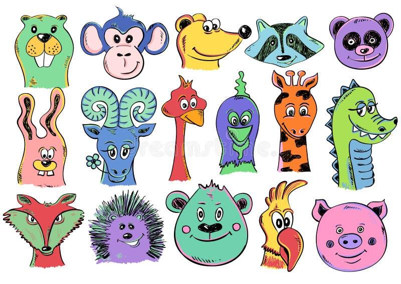 Grupo dos ícones animais da cara dos desenhos animados engraçados ilustração royalty free