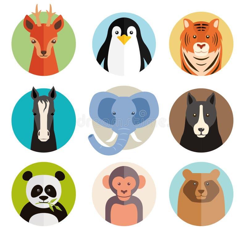 Grupo dos ícones animais do vetor em botões redondos ilustração stock