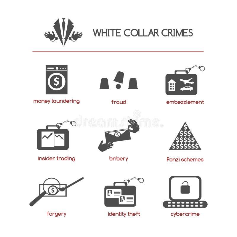 Grupo dos ícones brancos do crime do colar ilustração stock