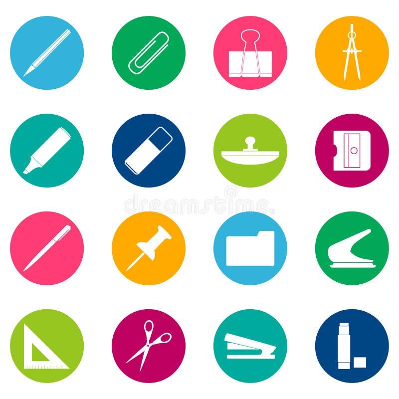 Grupo dos ícones brancos dos artigos de papelaria no fundo da cor, ilustração ilustração stock