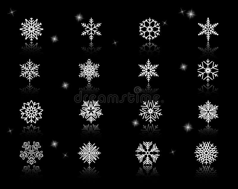 Grupo dos ícones brancos dos flocos de neve ilustração royalty free